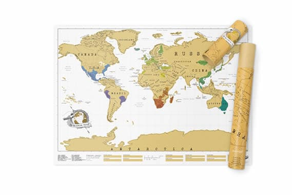 Scratch off map with storage tube