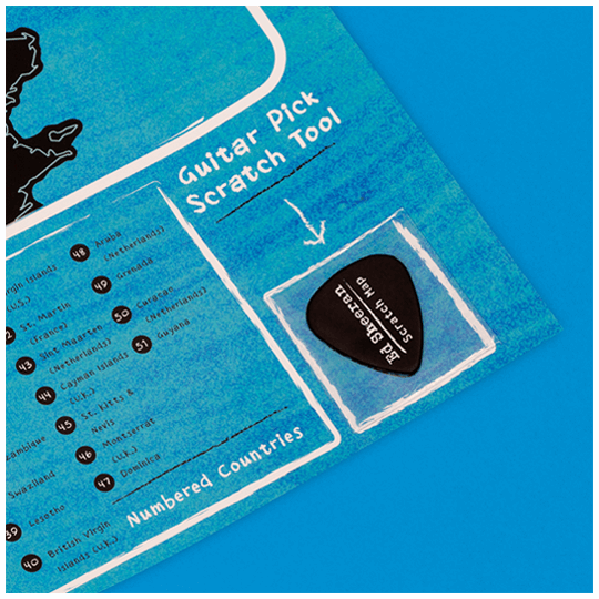 Ed Sheeran Scratch Map Plectrum