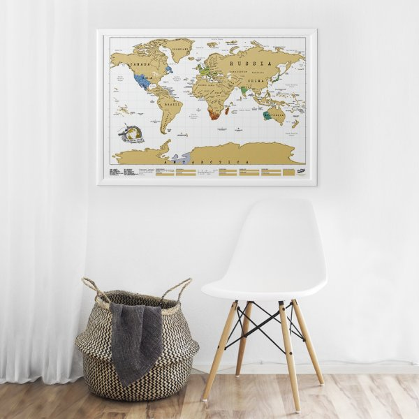 Framed Scratch Map Original