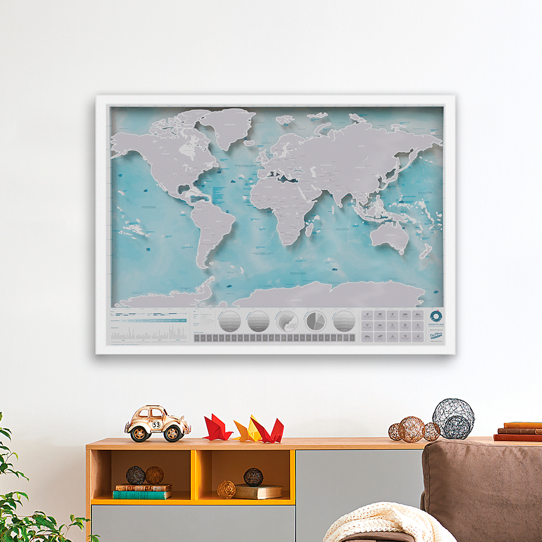 Framed Scratch Map Oceans