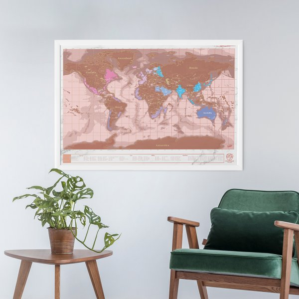 Scratch Map Rose Gold by Luckies of London