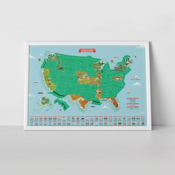 Scratch Map US Landmarks by Luckies of London